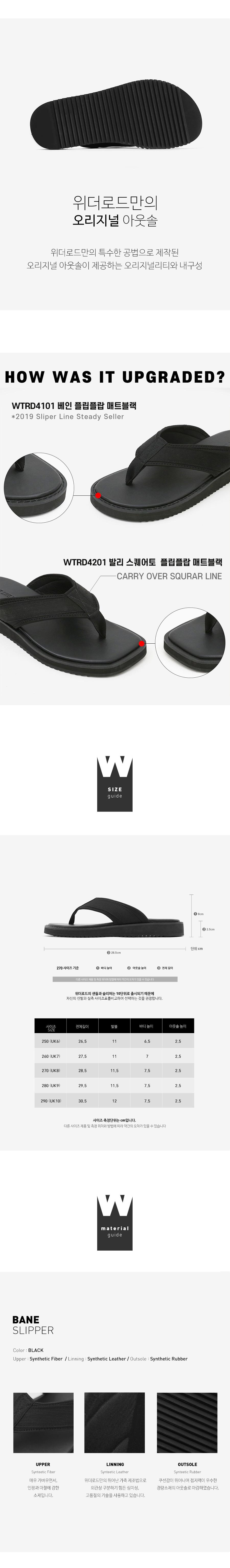 위더로드(WETHEROAD) WTRD4101 베인 플립플랍 매트블랙 [250~290MM]